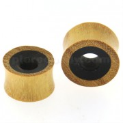 Organic Jackfruit wood Covered on Black Wood Ear Plug Gauges
