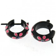 Organic Black Wood with Pink Flower Stick Earring