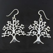 925 Sterling Silver Tree of Life Fish Hook Earring