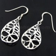 925 Sterling Silver Twisted Leaf Cut out Fish Hook Earring