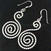 925 Sterling Silver rope Texture Spiral Fish Hook Earring