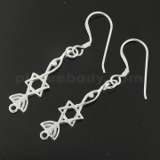 925 Sterling Silver Jeweled Astrology Design Cutout Hook Earring