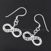 925 Sterling Silver Jeweled Trendy Infinitive Hook Earring