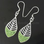 925 Sterling Silver Multi jeweled Leaf Hook Earring