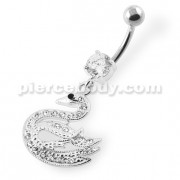 925 Silver Dangling Multi Jeweled Swan Belly Ring