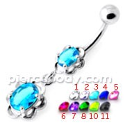 Dangling Single Jeweled Flower Navel Belly Bar