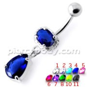 Fancy Jeweled Dangling Belly Bar PBM2073