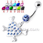 Multi Jeweled Heart Silver Navel Belly Banana