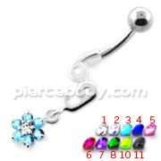 69 with flower Dangling Navel Belly bar