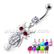 Multi Jeweled Owl Dangling Navel Belly Ring