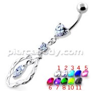 Fancy Jeweled Dangling Navel Belly Ring