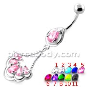 Fancy Flower Jeweled Dangling Navel Belly Ring