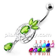 Fancy Flower Laef Jeweled Dangling Navel Belly Banana