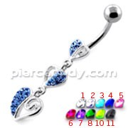 Trible Heart Jeweled Dangling Navel Belly Ring