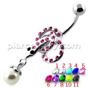 Multi Jeweled Snake with Hanging Ball Navel Belly Ring