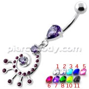 Jeweled Spiral Belly button Ring