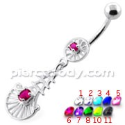 Fancy Jeweled sterling silver belly bar