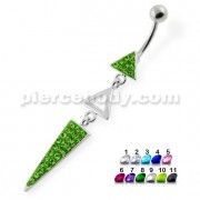 Multi Jeweled 3 Triangle belly button jewelry