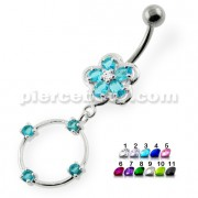 Jeweled Flower with a Ring Navel belly piercing