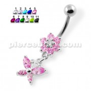 Flower with Dangling butterfly Navel Belly Piercing