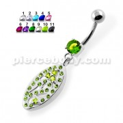 Multi Jeweled Oval Belly Piercing