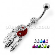 Ying Yang with Dream Catcher Navel Belly Piercing
