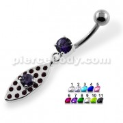 Multi Jeweled Oval Belly Button Piercing