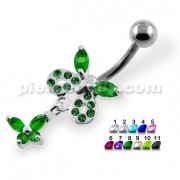 Jeweled Tiny Butterfly Belly Button Piercing