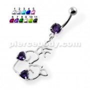 Twin Heart Jeweled in Heart Belly Button Piercing