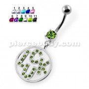Jeweled Word LUCK in a Round Frame Navel Piercing