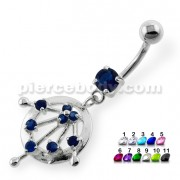 Dangling Jeweled Round Cut Navel Belly Button Piercing