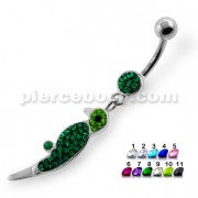 Dangling Multi Jeweled Parrot Navel Belly Button Piercing