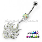 Multi Jeweled Burning Mask Belly Button Ring
