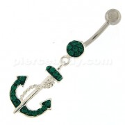 Fancy Hanging Anchor Dangling Belly Ring
