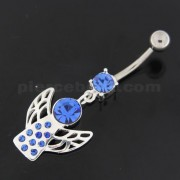 Angel Wings Silver Navel Belly Button Ring