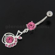 Half Jeweled Half Plain Navel Belly Button Ring