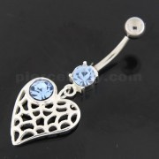 Single Jeweled Web Heart Navel Belly Button Ring