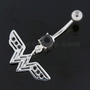 Jeweled W wing Cut out Navel Belly Button Ring