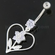 Sterling Silver Jeweled Flower in Heart Navel Belly Button Bar