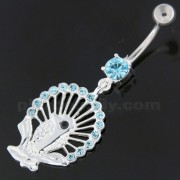 Dangling Multi jeweled Peacock Navel Belly Ring