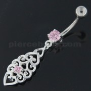 Fancy Jeweled Sterling Silver Navel Belly Button Bar