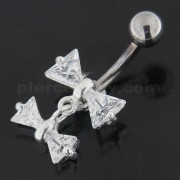 Jeweled Twin Bow Sterling Silver Navel Belly Button Ring