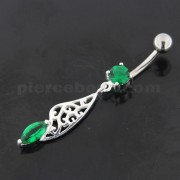 Fancy Jeweled Sterling Silver Navel Belly Bar