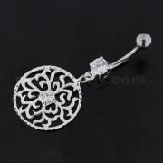 Center Jeweled Grass Leafs Cut out Sterling Silver Navel Bar