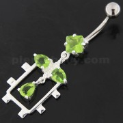 Fancy Jeweled Dangling Sterling Silver Belly Button Ring