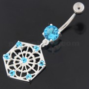 Sterling Silver Jeweled Hexagon Cut out Navel Bar