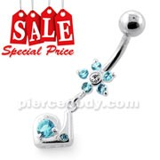 Fancy Jeweled Flower Dangling Silver Navel Bar