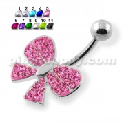Fancy Jeweled Silver Navel Ring