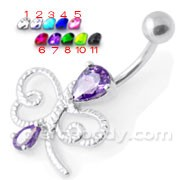 Jeweled dragonfly style Navel Belly Ring