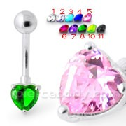 Single Heart Jeweled Navel Banana